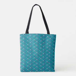Skull pattern in blue and turquoise colors tasche
