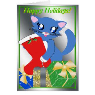 Skye Toon Kätzchen-Feiertags-Strumpf-Karte Karte