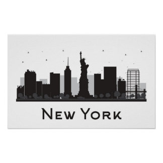Skyline New York City | Schwarzweiss Poster