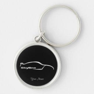 Skyline-silberne Silhouette mit schwarzem Silberfarbener Runder Schlüsselanhänger