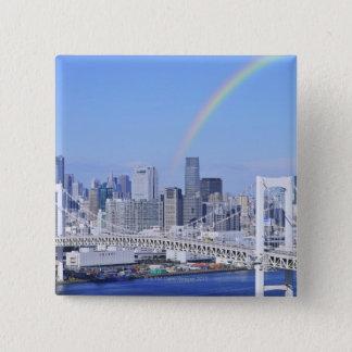 Skyline von Tokyo- und Regenbogen-Brücke Quadratischer Button 5,1 Cm