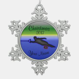 Slalom-Wasser-Ski-Weihnachtsverzierung Schneeflocken Zinn-Ornament
