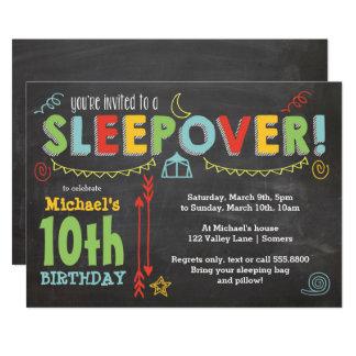 Sleepover-Party, Tafel und mutige Farben Karte