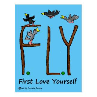 Slogan FLIEGE erste Liebe sich Postkarte