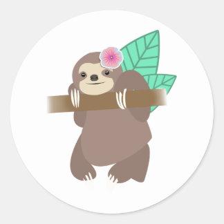 Sloth mit Blumen-Digital-Illustration Runder Aufkleber