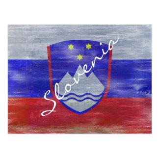 Slowenien beunruhigte slowenisch Flagge Postkarte