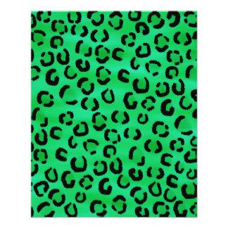 Smaragdfarbleopard-Druck-Muster 11,4 X 14,2 Cm Flyer