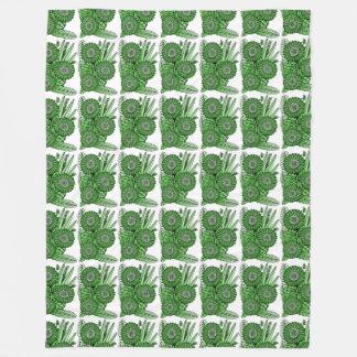 Smaragdgerbera-Gänseblümchen-Blumen-Blumenstrauß Fleecedecke