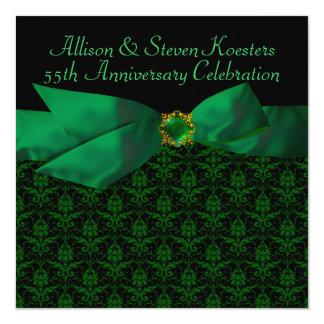 Smaragdgrün-Damast 20./55. Jahrestags-Party Quadratische 13,3 Cm Einladungskarte