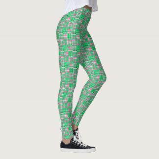 Smaragdgrün-heißes Rosa-Madras-Patchwork kariert Leggings