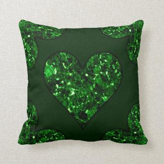 Smaragdgrün-Herz Kissen