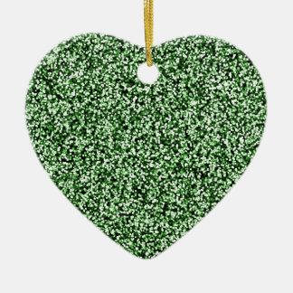 Smaragdgrün-Imitat-Glitter Keramik Ornament