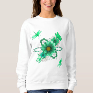 Smaragdgrün mit Blumen Sweatshirt