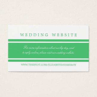 Smaragdgrün-moderne Hochzeits-Website Visitenkarte