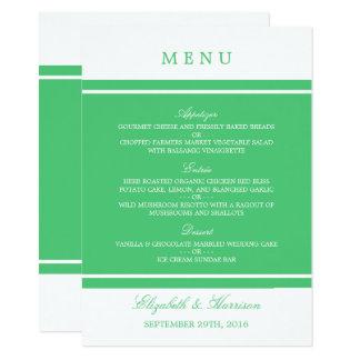 Smaragdgrün-modernes Hochzeits-Menü Karte