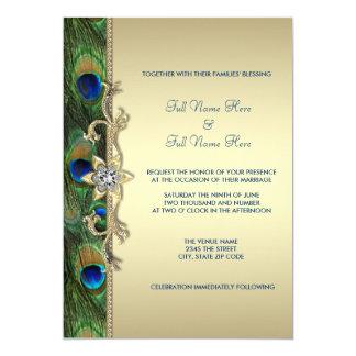Smaragdgrün-und Goldpfau-Hochzeit 12,7 X 17,8 Cm Einladungskarte