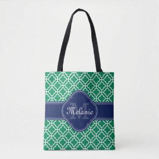 Smaragdgrün-weißes marokkanisches tasche