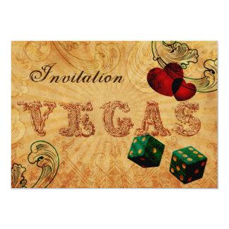 Smaragdgrün-Würfel lädt Vintage Vegas-Hochzeit ein 12,7 X 17,8 Cm Einladungskarte
