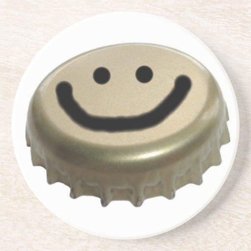 Smiley-Bierflasche-Kappe Bierdeckel