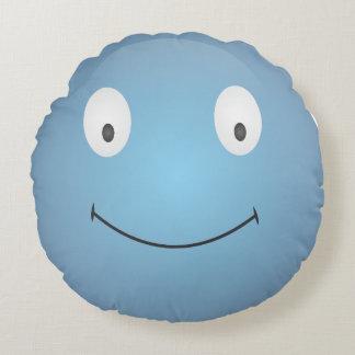 Smiley Emoticonblau Rundes Kissen