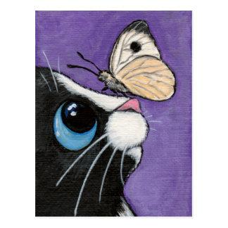 Smokings-Katze und weiße Schmetterlings-Malerei Postkarte