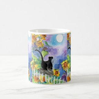 Smokings-Katzen-Mond in den Sonnenblumen Kaffeetasse