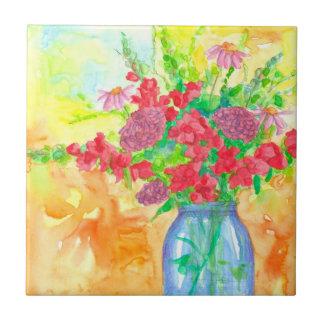 Snapdragons Zinniaswatercolor-Blumen-Blumenstrauß Kleine Quadratische Fliese