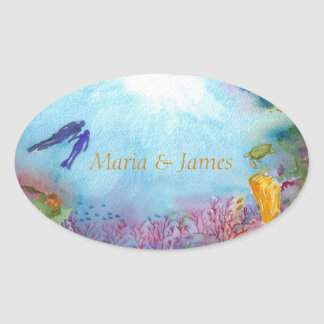 Snorkel-Paar-themenorientierte ovale glatte Ovaler Aufkleber