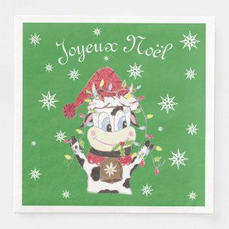 Snowbell die Kuh u. das Weihnachten beleuchtet Papierservietten
