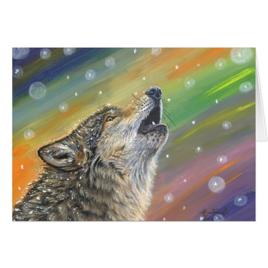 Snowbound Heulenwolf in der Schnee-Malerei-Kunst Karte