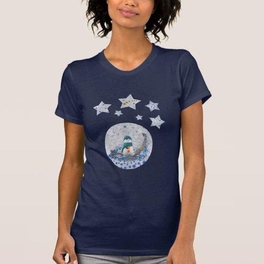 Snowman, funkelnd blaue Sterne, Gold ist in der T-Shirt