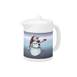 Snowman mit Weihnachtsmannmütze-und Karotten-Nase