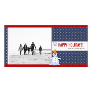 Snowman-WeihnachtsFoto-Karte Photokartenvorlage