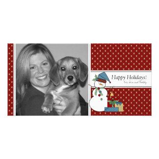 Snowman-WeihnachtsFoto-Karte {rot} Fotokarten