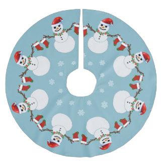 Snowmen und Strümpfe Polyester Weihnachtsbaumdecke