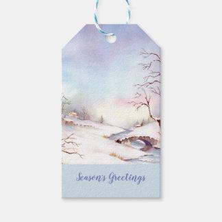 Snowy-Brücken-Aquarell-Landschaftsmalerei Geschenkanhänger