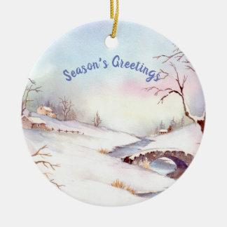 Snowy-Brücken-Aquarell-Landschaftsmalerei Keramik Ornament