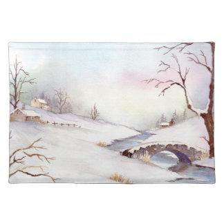 Snowy-Brücken-Aquarell-Landschaftsmalerei Stofftischset