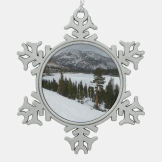 Snowy Ellery See-Kalifornien-Winter-Fotografie Schneeflocken Zinn-Ornament