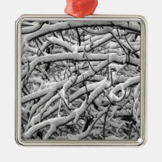 Snowy-Niederlassungen Silbernes Ornament