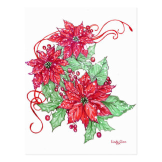 Snowy-Poinsettias Postkarte