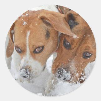 Snowy riecht Beagles Runder Aufkleber