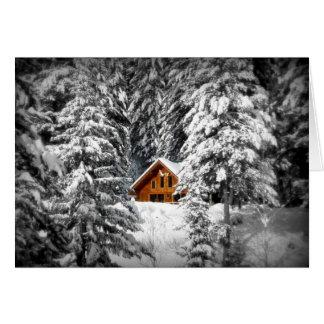 Snowy-Wald mit Loghouse Weihnachtskarte Grußkarte