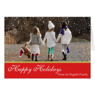 Snowy-Weihnachtsfamilien-Karte Karte