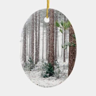 Snowy-Winter-Holz Keramik Ornament
