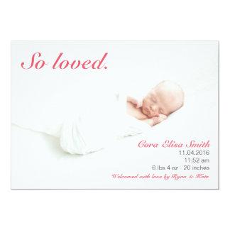 So geliebte Geburts-Mitteilung 12,7 X 17,8 Cm Einladungskarte