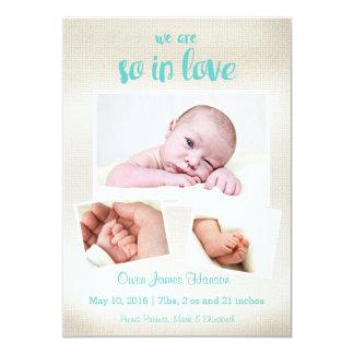 So in der Liebe-Baby-Jungen-Geburts-Mitteilung Karte