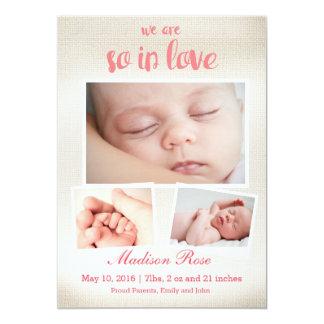 So in der Liebe Babymädchen Geburtsmitteilung Karte