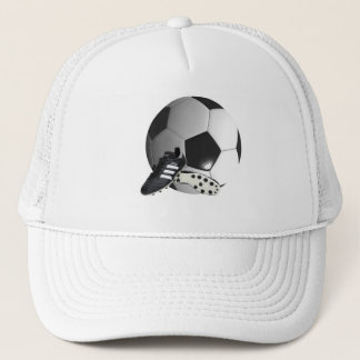 Soccer_Ball_And_Shoes_Sporty_Truckers_Cap. Truckerkappe