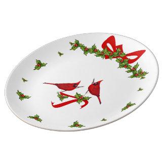 Sockel von Weihnachten an den cardinals Porzellanteller
